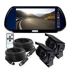 """7"""" Rear view Mirror Monitor 12V 24V Reversing CCD Camera Truck Caravan 4Pin KIT"""