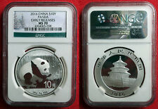 2016 Chinese Silver Panda 1oz .999 Bullion Coin. NGC MS 70. Early Release.