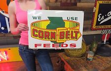 Corn Belt Feeds Farm Dairy Seeds Tin Advertising Sign Agriculture General Store