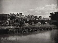 1927 Vintage FRANCE Carcassonne Bridge River Castle Architecture Art HURLIMANN