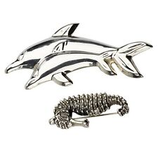 Sterling Silver Sea Creatures Two Brooches, Sea Horse, Mother & Son Dolphins