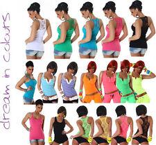 Sexy Damen Tank Top Spitze Trägertop NeoN grün pink schwarz blau weiß XS S M L