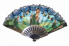 2 Jesus Lace Hand Held Fan ladies pocket purse fans New Religious christ novelty