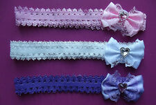 Reborn Doll Headband with Lacey Bow and Heart Embellishment  SET OF THREE
