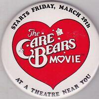 """VINTAGE 3"""" PINBACK #28-017 - MOVIE - THE CARE BEARS MOVIE"""