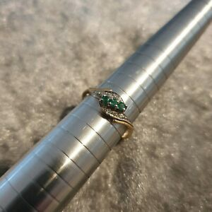 9ct Yellow gold ring -Emerald and Diamond - UK size N 1/2
