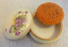 Vintage Hand Painted Porcelain Powder Box Favorite Bavaria Purple Violets
