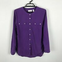 Chico's Blouse Size 1 Purple Soft Modal Blend Long Roll Tab Sleeve Button Up