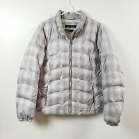 Eddie Bauer Womens Down Puffer Jacket Coat Extra Large XL Silver White Full Zip
