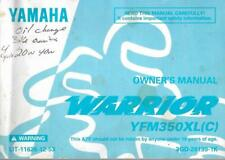 Yamaha Warrior Quad ATV YFM350XL 1998 Owner's Manual Original OEM
