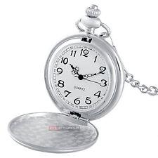 Vintage Silver CCCP Russia Pocket Watch Quartz Necklace Chain Pendant*