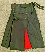 punk stunning Jed Phoenix Kilt - Red Lining - Attached Bag - Size S Cyber Goth