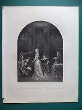 "1850 CIRCA ""LA DAMIGELLA AL CLAVICEMBALO"" INCISIONE SU ACCIAIO ORIGINALE."