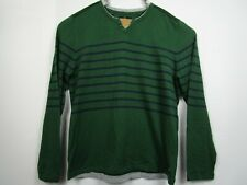 NWT New Mens Buffalo David Bitton 2XL Slim Green Striped Pullover Henley Sweater