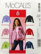 Girls Jacket Sewing Pattern M4914 Size 12 14 16 McCalls 6 Styles Easy