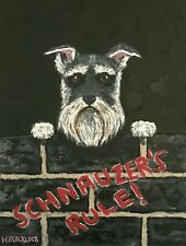 "Schnauzer Dog by Walter Blacklock Signed Original Painting 16""x 12"" on Canvas"