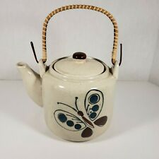 Vintage Made In Japan Butterfly Tea Pot Bamboo Handle