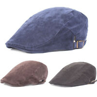 Mens Casual Solid Color Soft Golf Berets Driving Corduroy Cap Sun Newsboy Hat