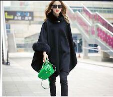 Elegant Double sided thick 100% wool Fox Fur Shawl/Poncho/Coat/cape /black