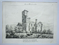 CHATEAU THERMES MIRANDE Gers LITHOGRAPHIE Guienne Monumentale Leo Drouyn XIX°