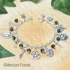 Wiccan Charm Bracelet - Moss Agate - Pagan Jewellery, Wicca, Witch, Pentacle