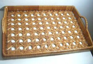 Vintage Tray Wicker Woven Rattan Boho Tiki Large Serving Tray ~ 18'' x `13''