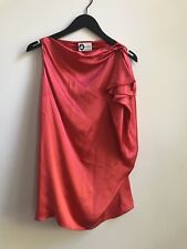 Lanvin Paris Silk Blouse Sz 38 Pink Red Asymmetrical