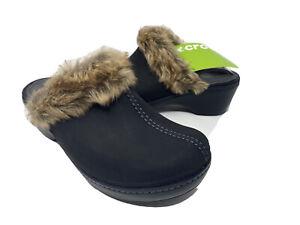 Crocs Cobbler Suede Leather Clogs womens Size 8 Faux Fur Collar Black NEW