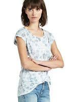 Lucky Brand - XS - NWT - Blue Tribal Geometric Burnout Patterned Slub Knit Tee