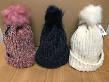 Ladies Ribbed Chenille Turn up Pom Pom Woolly Hats One Size Pink, Blue or Cream