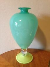 Vtg Signed ART GLASS Pedestal VASE Robin Mix Studio Hand Blown Teal/Yellow '92