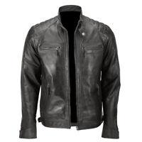 Men's Black Biker Quilted Vintage Motorcycle Cafe Racer Genuine Leather Jacket