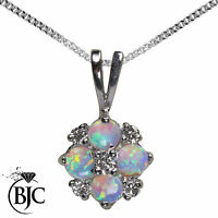 BJC® 9ct White Gold Natural Opal & Diamond 0.40ct 0.17ct Pendant Necklace
