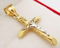 Mens 10k Two Tone Gold Cross Charm Crucifix Pendant 1.5 inch