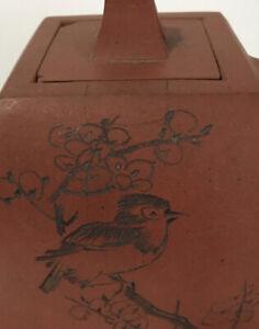 SIGNED CHINESE 19TH-20TH C YIXING ZISHA CLAY TEAPOT Art Pottery Bird Cherry Tree