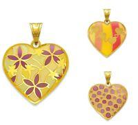 14K Solid Yellow Gold Women Enamel Heart Necklace Pendant Charm