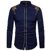 Men's Slim Fit Long Sleeve Cotton Shirt Retro Style Casual Business Dress Shirts