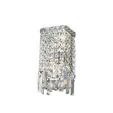 "2-Light Chrome Finish D 6"" H 13"" Apollo Clear Crystal Wall Sconce Light Modern"
