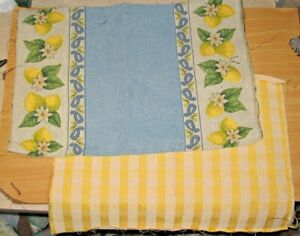 Yellow Lemons & Yellow Gingham Check Tapestry Pillow Fabric Pieces