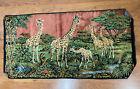 1960's Vintage Velvet Tapestry Wall Hanging African Safari Giraffes