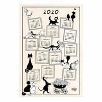 "TORCHONS & BOUCHONS, 2020 FRENCH KITCHEN / TEA CALENDAR TOWEL, ""DUBOUT CATS"""