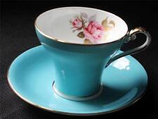 Vintage JOHN AYNSLEY Bone China England Light Blue Pattern #2225 Set Cup & Sauce