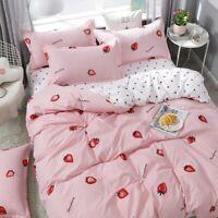 Pink Strawberry Bed Linen Cute Bedding Set Duvet Cover Set Quilt Cover Bed Sheet