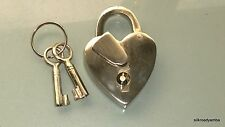 small PADLOCK old stye HEART LOVE solid brass 2 key heavy lock bridge SILVER