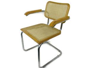 Cesca Arm Chair Italian Design by Marcel Breuer Tubular Steel Frame Lounge Desk