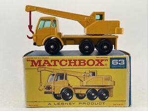 Matchbox Lesney Vintage No. 63 DODGE CRANE TRUCK Yellow with Original Box