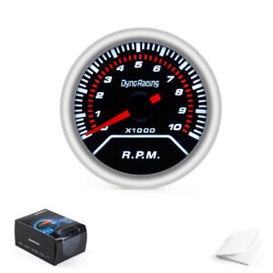 Tachometer 2″ 52mm White LED Car Pointer Tacho Gauge Meter 0~8000 RPM Smoke Lens