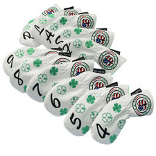 Golf Iron Head Covers 11Pcs/Set White Leather Long Neck US Clover Embroidery New