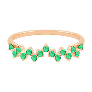 14k Rose Gold 0.28ct Studded Emerald Band Ring Women Jewelry