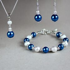 Dark blue pearl necklace bracelet earrings silver wedding bridal jewellery set